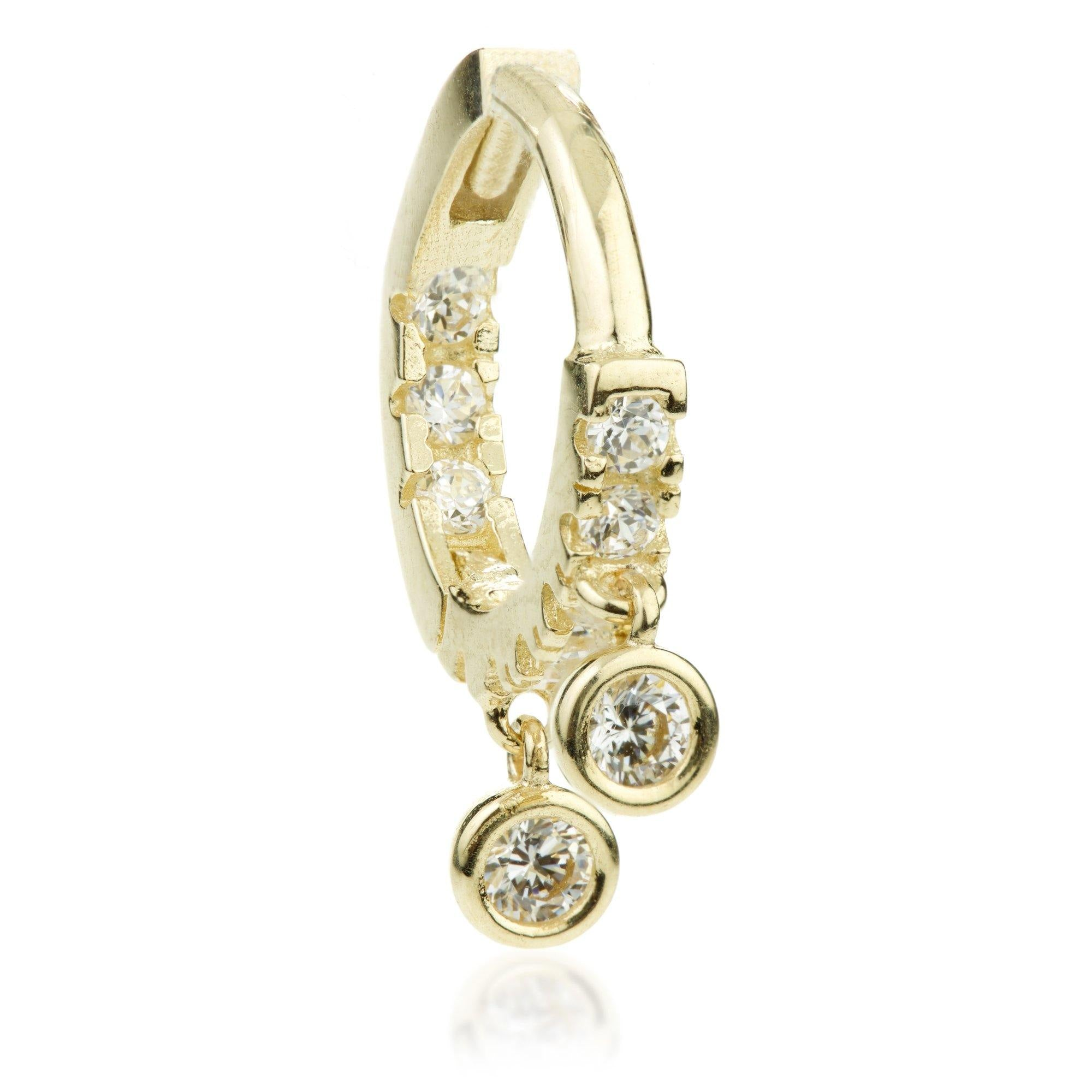 9ct Gold Crystal Double Charm Hoop Earring