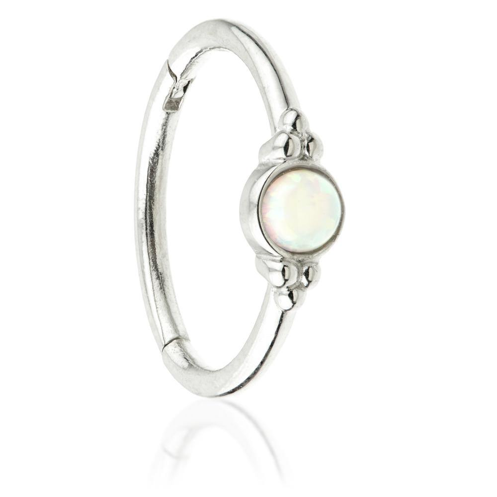 White Gold 11mm Hinge Ring with Opal & Tri-Balls
