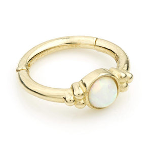 Open image in slideshow, 9ct Gold Opal & Tri-Ball 8mm Hinge Ring (1.2mm)
