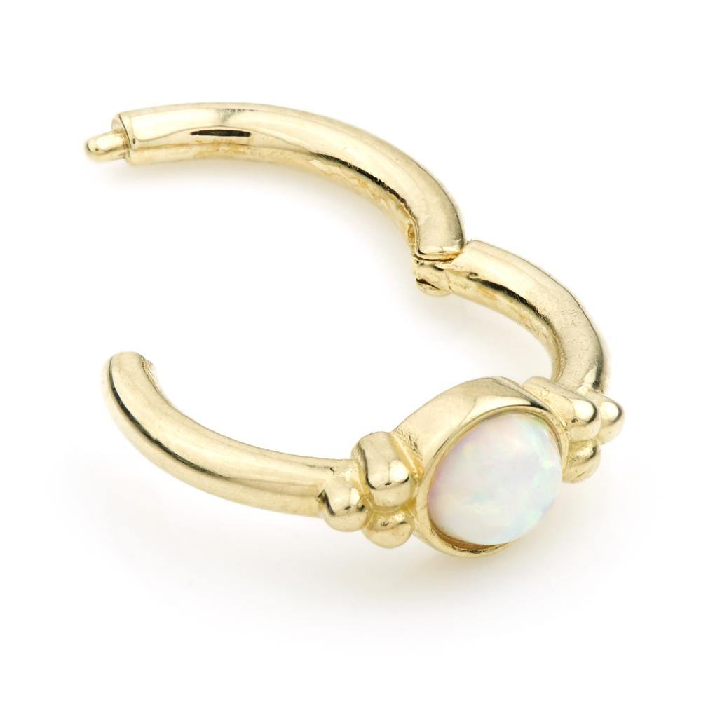 Gold Opal 8mm Segment Ring with Hinge