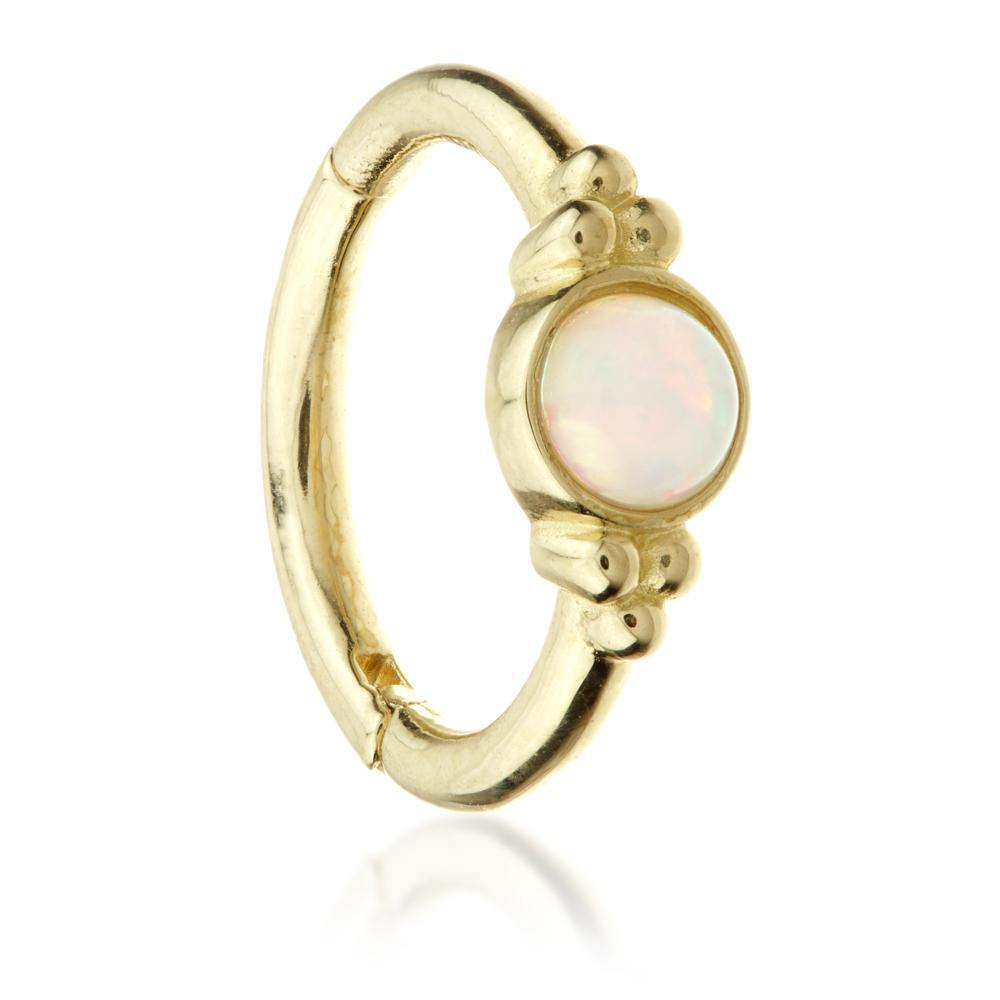 Gold 8mm Hinge Ring with Opal & Tri-Balls