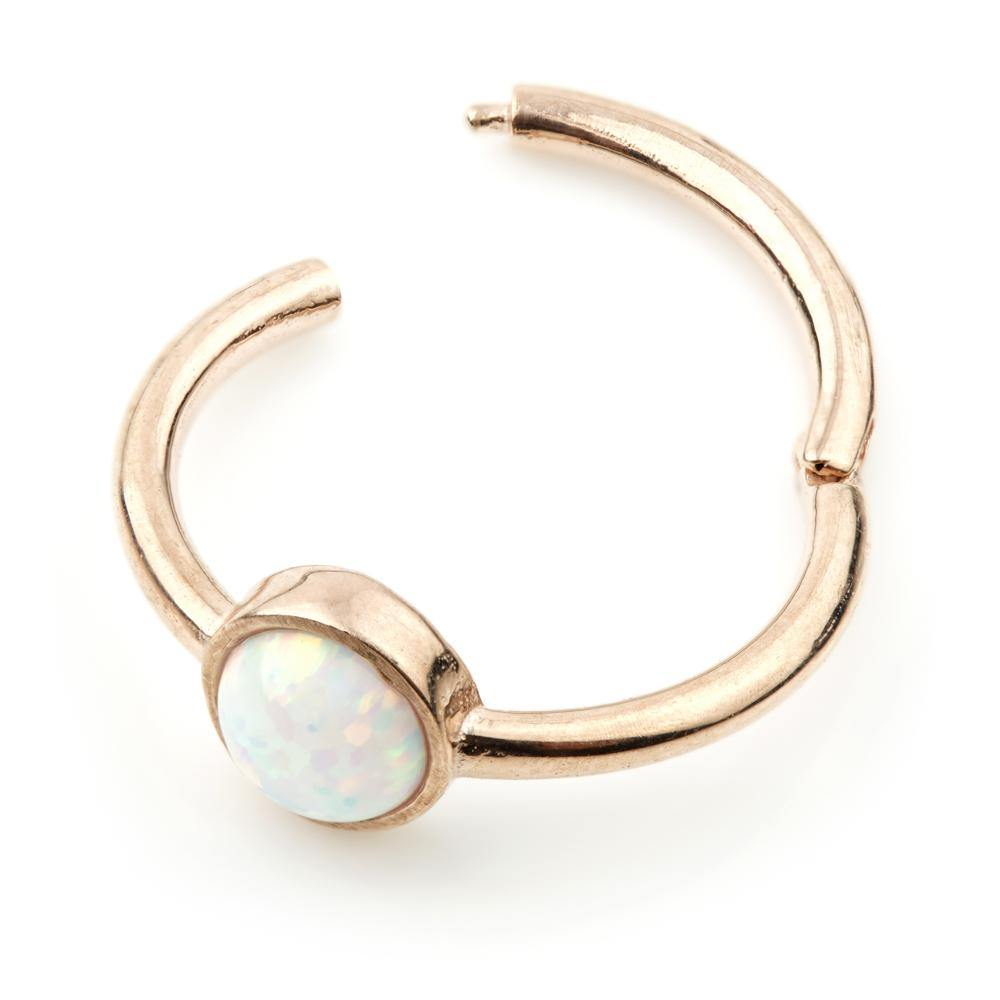Rose Gold Opal 11mm Segment Ring with Hinge