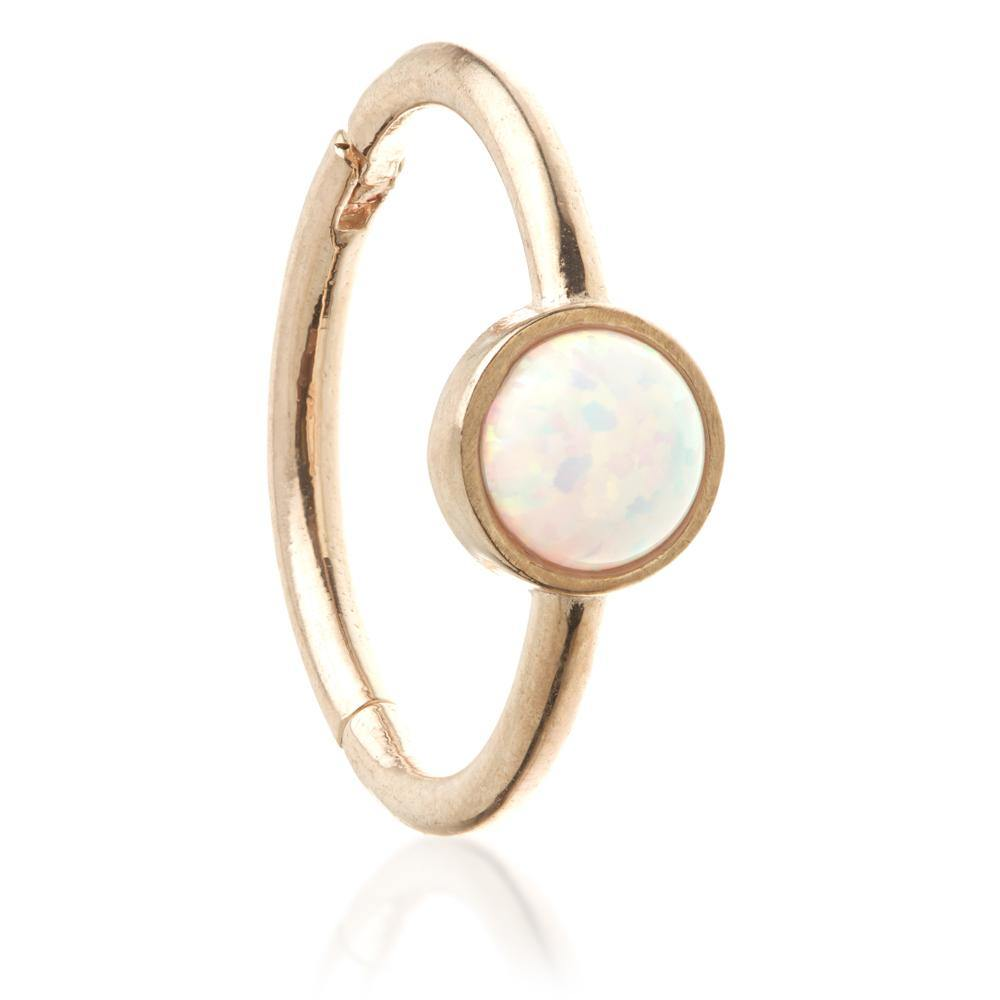 Rose Gold 11mm Hinge Ring with Opal
