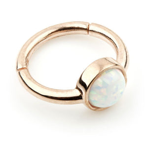 Open image in slideshow, 9ct Rose Gold 8mm Hinge Ring with Round Opal (1.2mm)