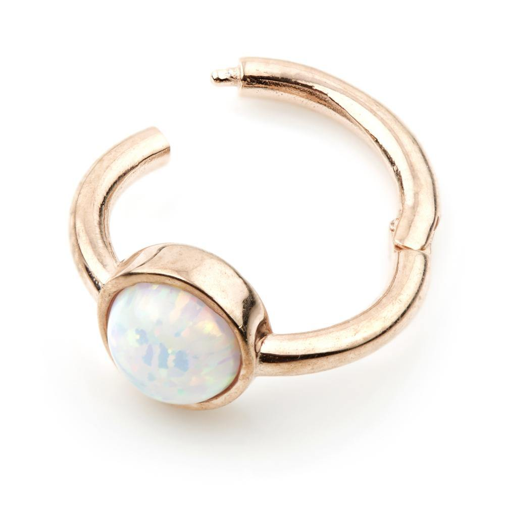 Rose Gold Opal 8mm Segment Ring with Hinge