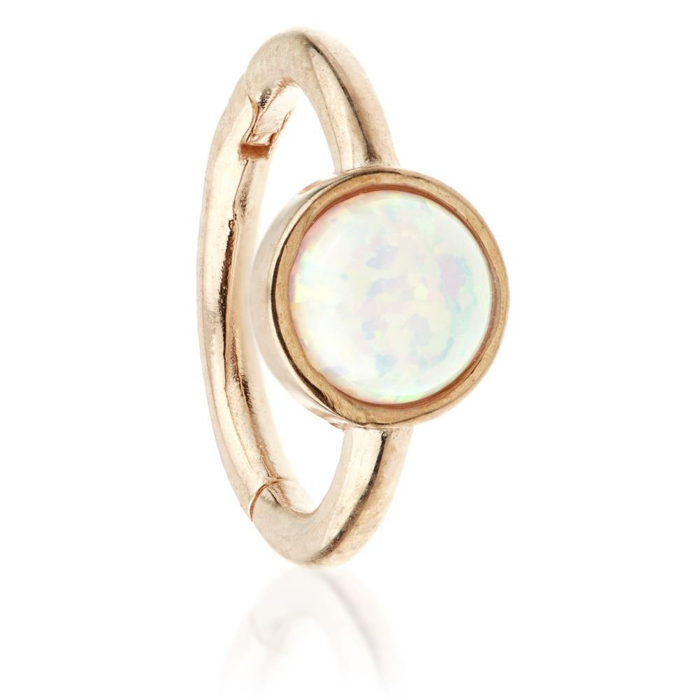 Rose Gold 8mm Hinge Ring with Opal