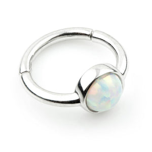 Open image in slideshow, 9ct White Gold 8mm Hinge Ring with Round Opal (1.2mm)