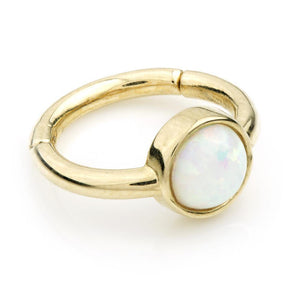 9ct Gold 8mm Hinge Ring with Round Opal (1.2mm)