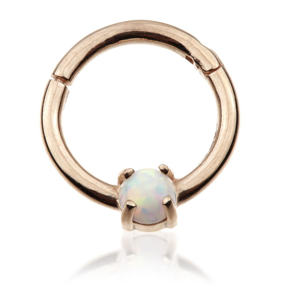 9ct Rose Gold 8mm Hinge Ring with Opal (1.2mm)