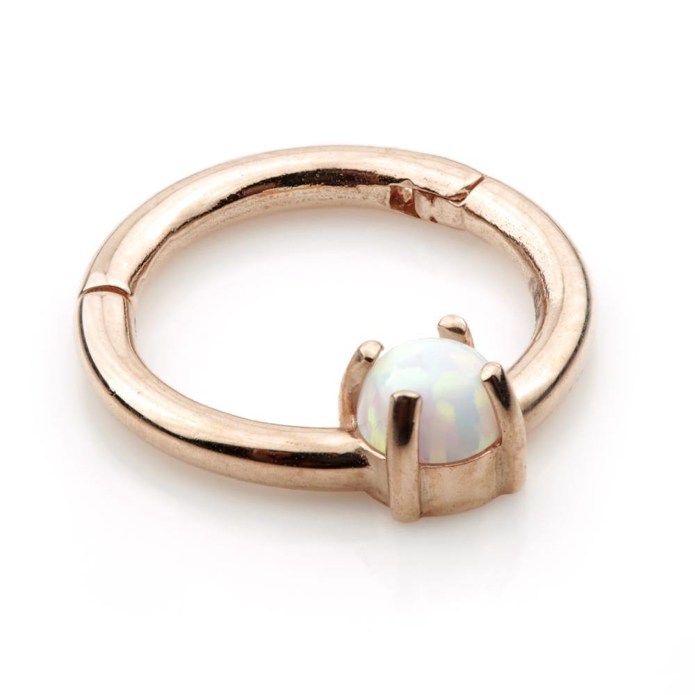 Rose Gold Opal Segment Hinge Ring