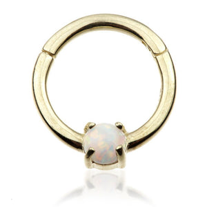 9ct Gold Hinge Ring with Opal (1.2mm)