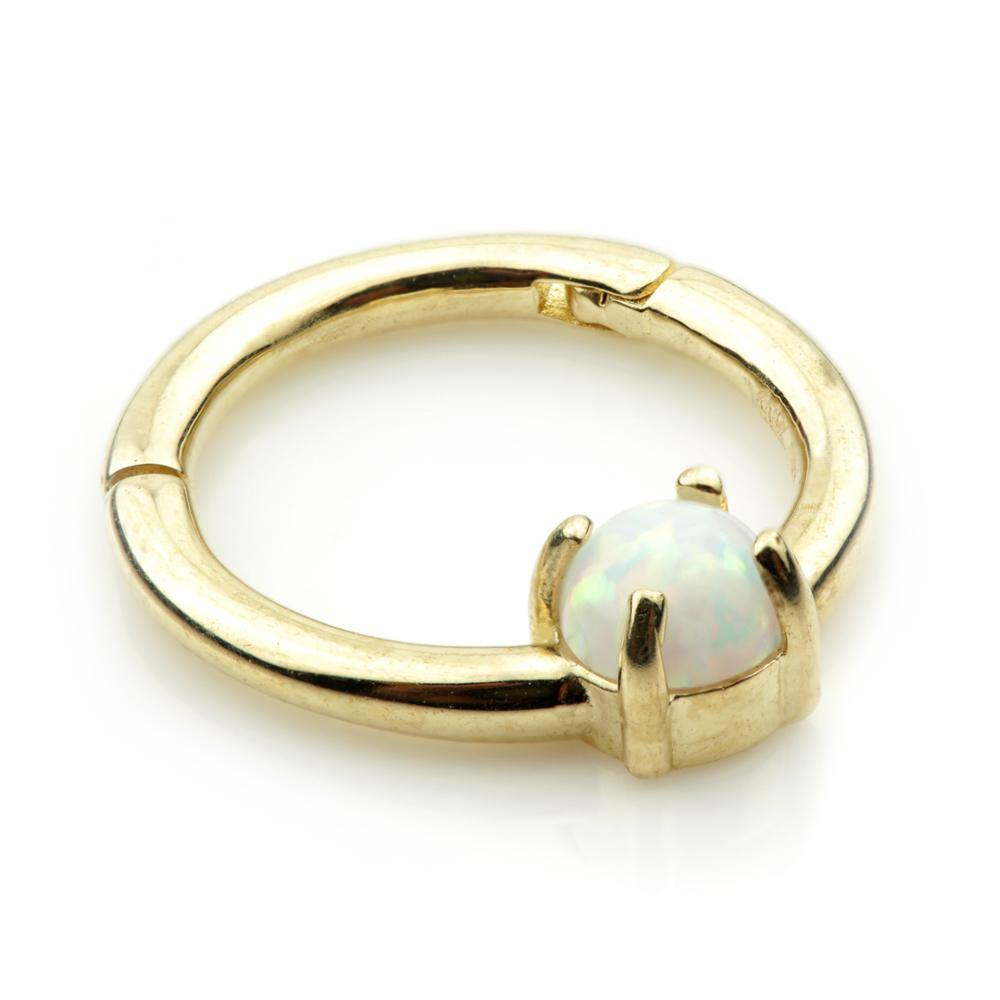 Gold Segment Hinge Ring with Opal