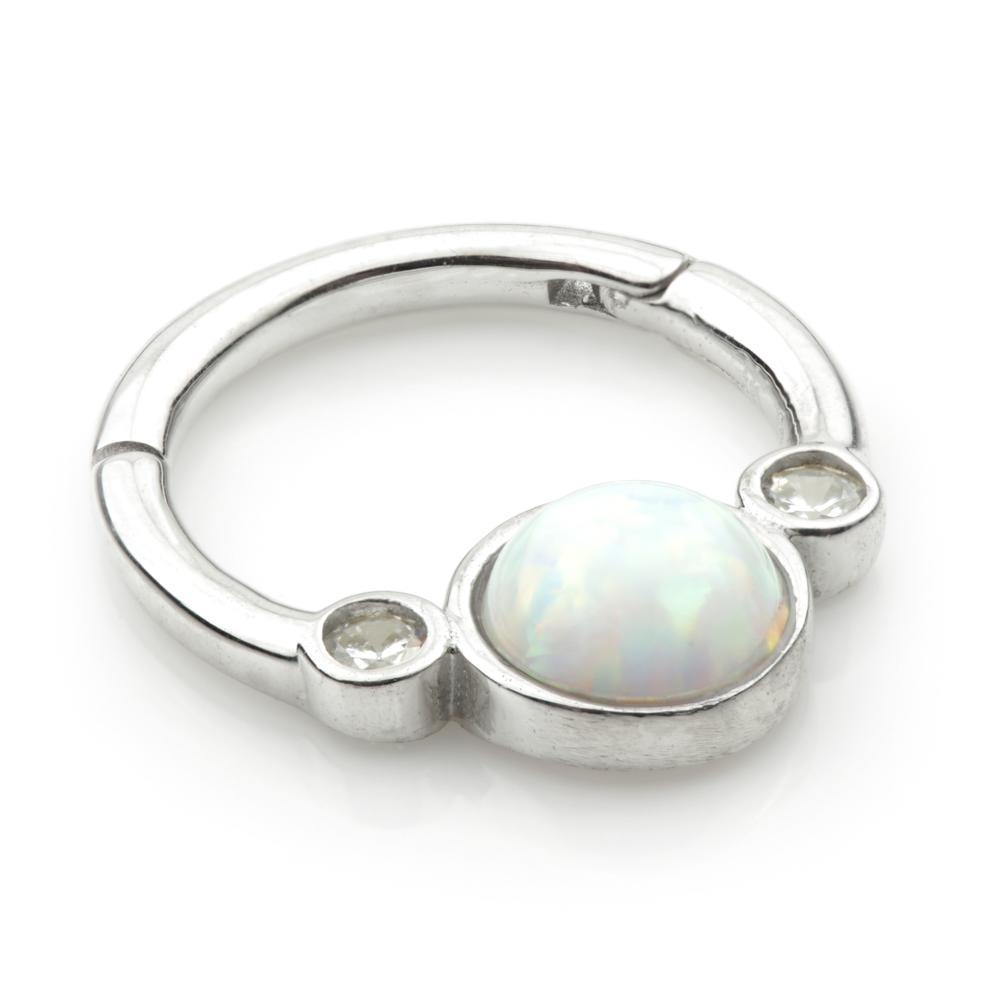 Opal & CZ Hinge Ring in 9ct White Gold