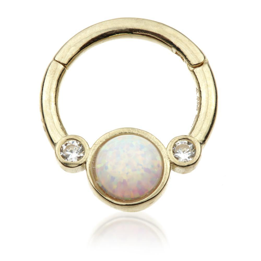 9ct Gold Opal & Crystal 8mm Hinge Ring (1.2mm)