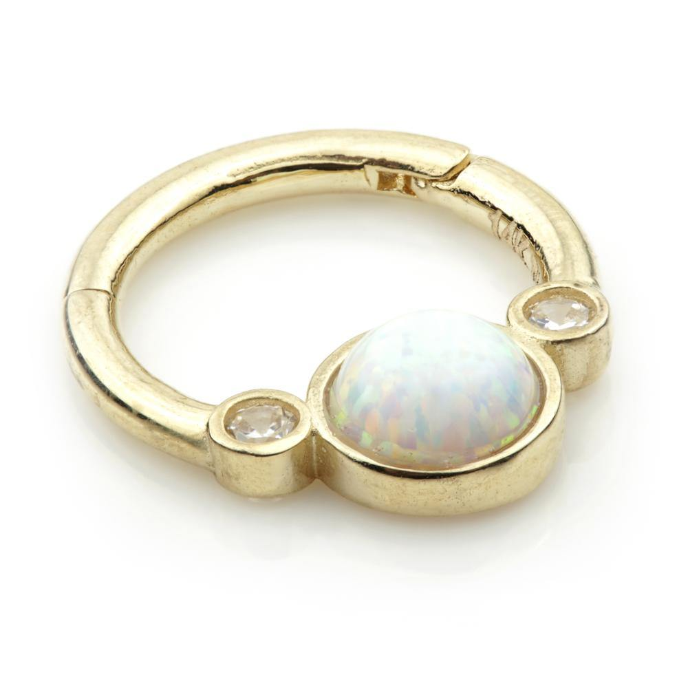 Opal & Crystal Hinge Ring in 9ct Gold