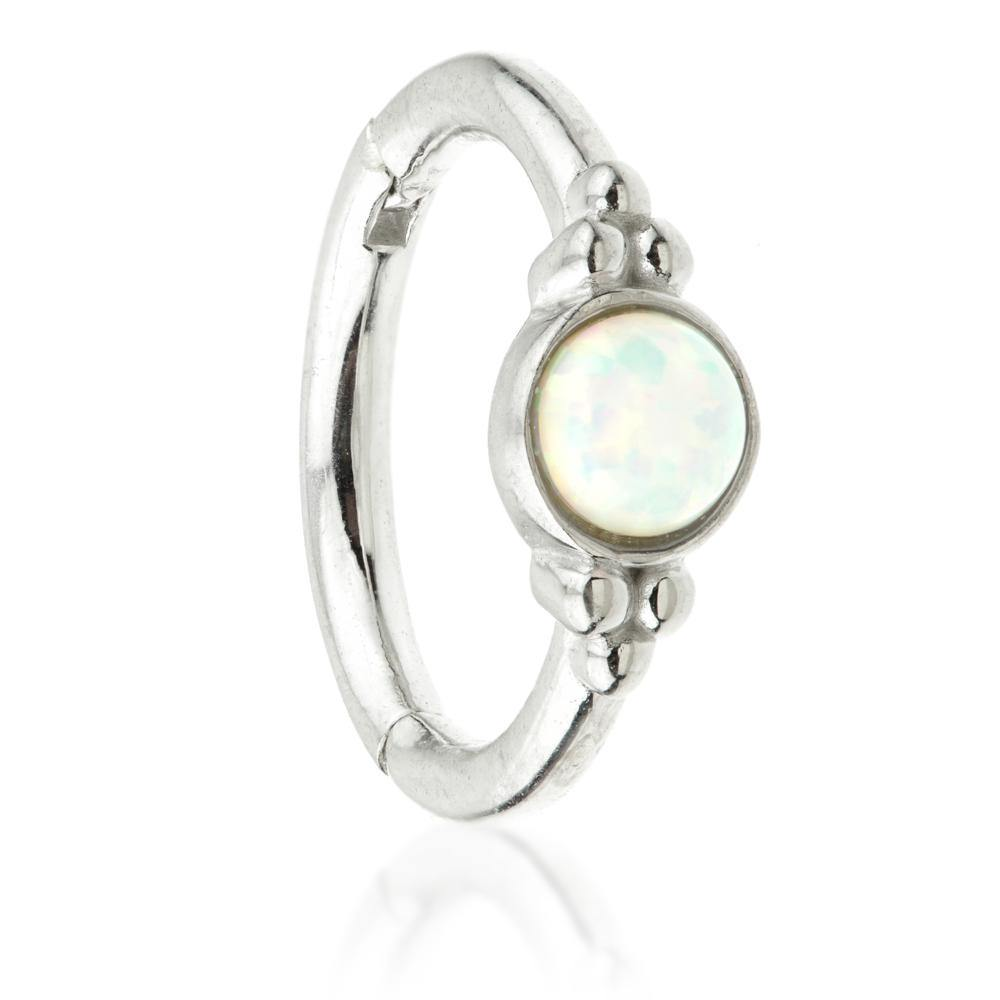 White Gold 8mm Hinge Ring with Opal & Tri-Balls