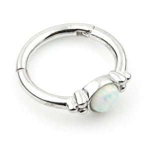 9ct White Gold Opal & Tri-Ball 8mm Hinge Ring (1.2mm)