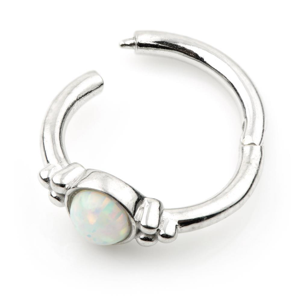 White Gold Opal 8mm Segment Ring with Hinge