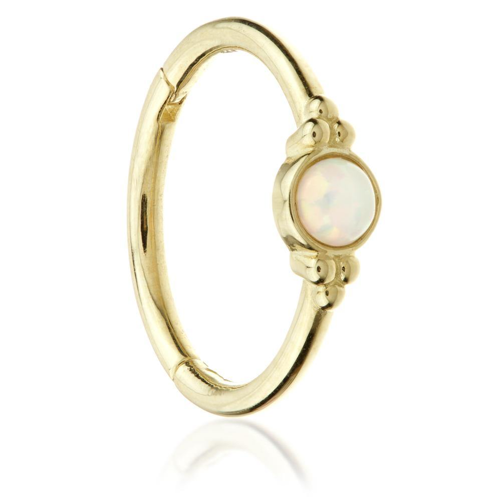 Gold 11mm Hinge Ring with Opal & Tri-Balls