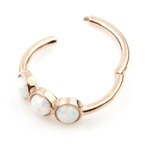 Rose Gold 11mm Hinge Ring with 3x Opals