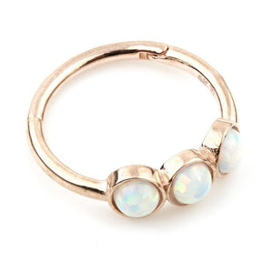 Open image in slideshow, 9ct Rose Gold Triple Opal 11mm Hinge Ring (1.2mm)