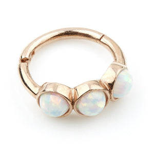 9ct Rose Gold Triple Opal 8mm Hinge Ring (1.2mm)