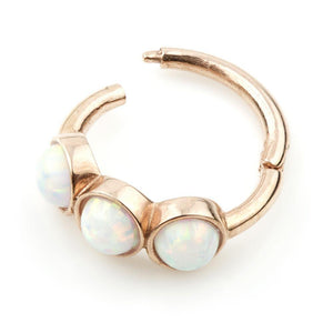 Rose Gold 8mm Hinge Ring with 3x Opals