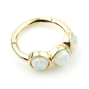 9ct Gold Triple Opal 8mm Hinge Ring (1.2mm)