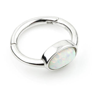 Open image in slideshow, 9ct White Gold 8mm Segment Hinge Ring with Oval Opal (1.2mm)