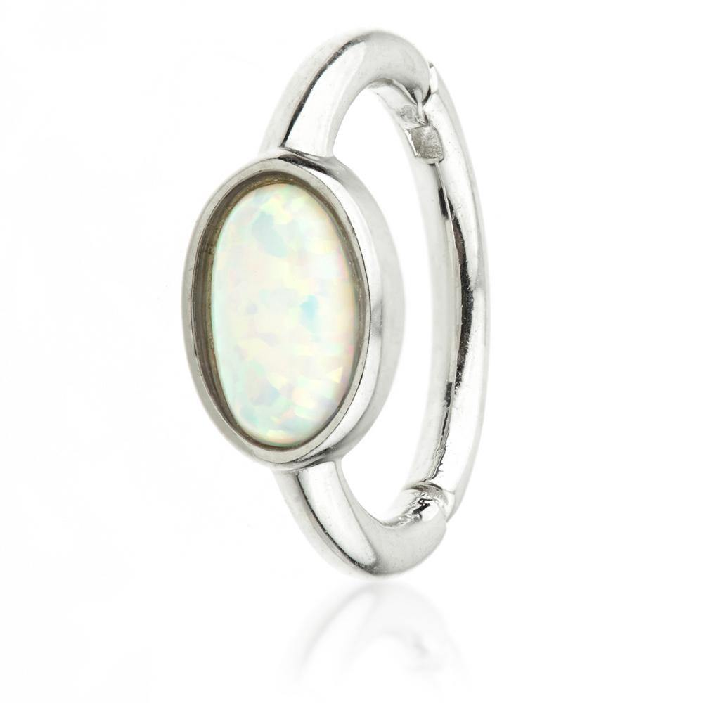 White Gold 8mm Hinge Ring with Opal