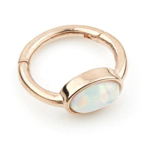 9ct Rose Gold 8mm Segment Hinge Ring with Oval Opal (1.2mm)