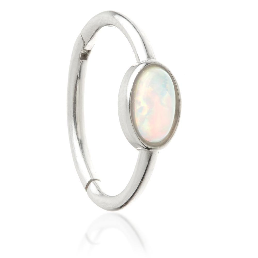 White Gold 11mm Hinge Ring with Opal