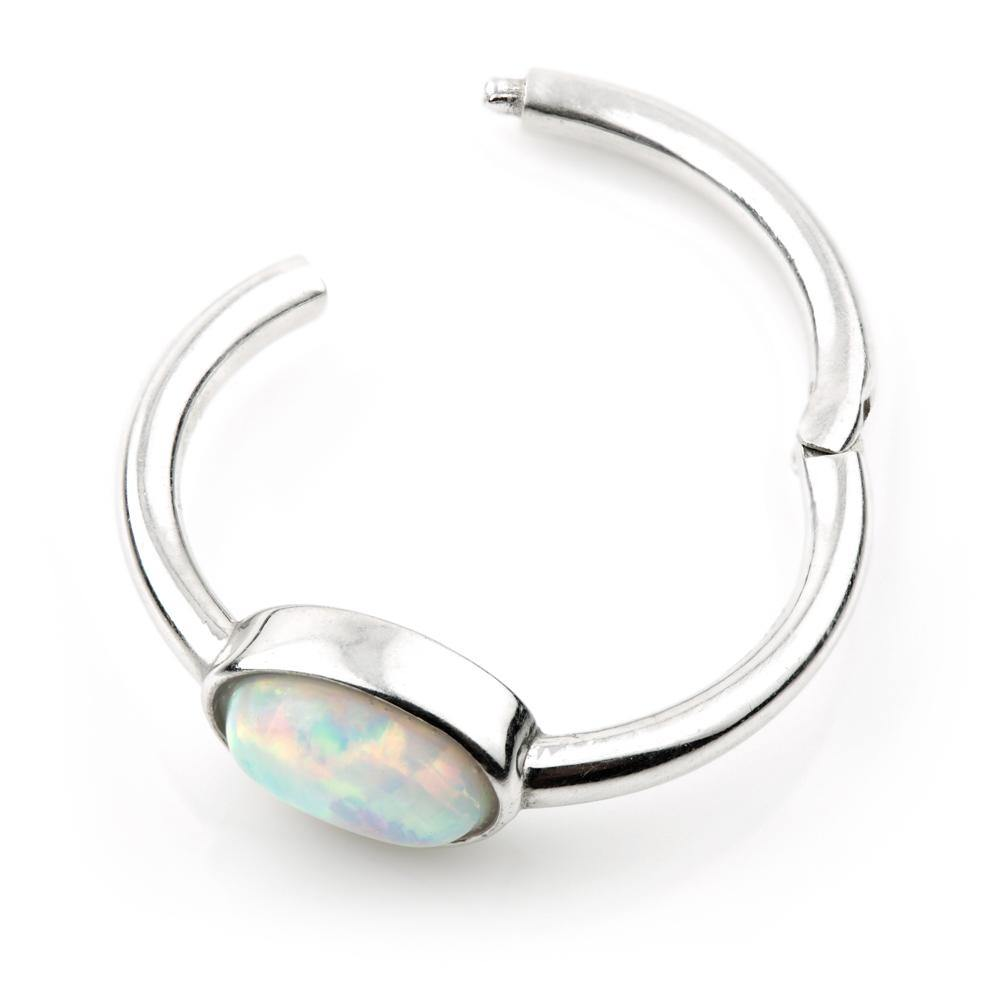White Gold Opal 11mm Segment Ring with Hinge