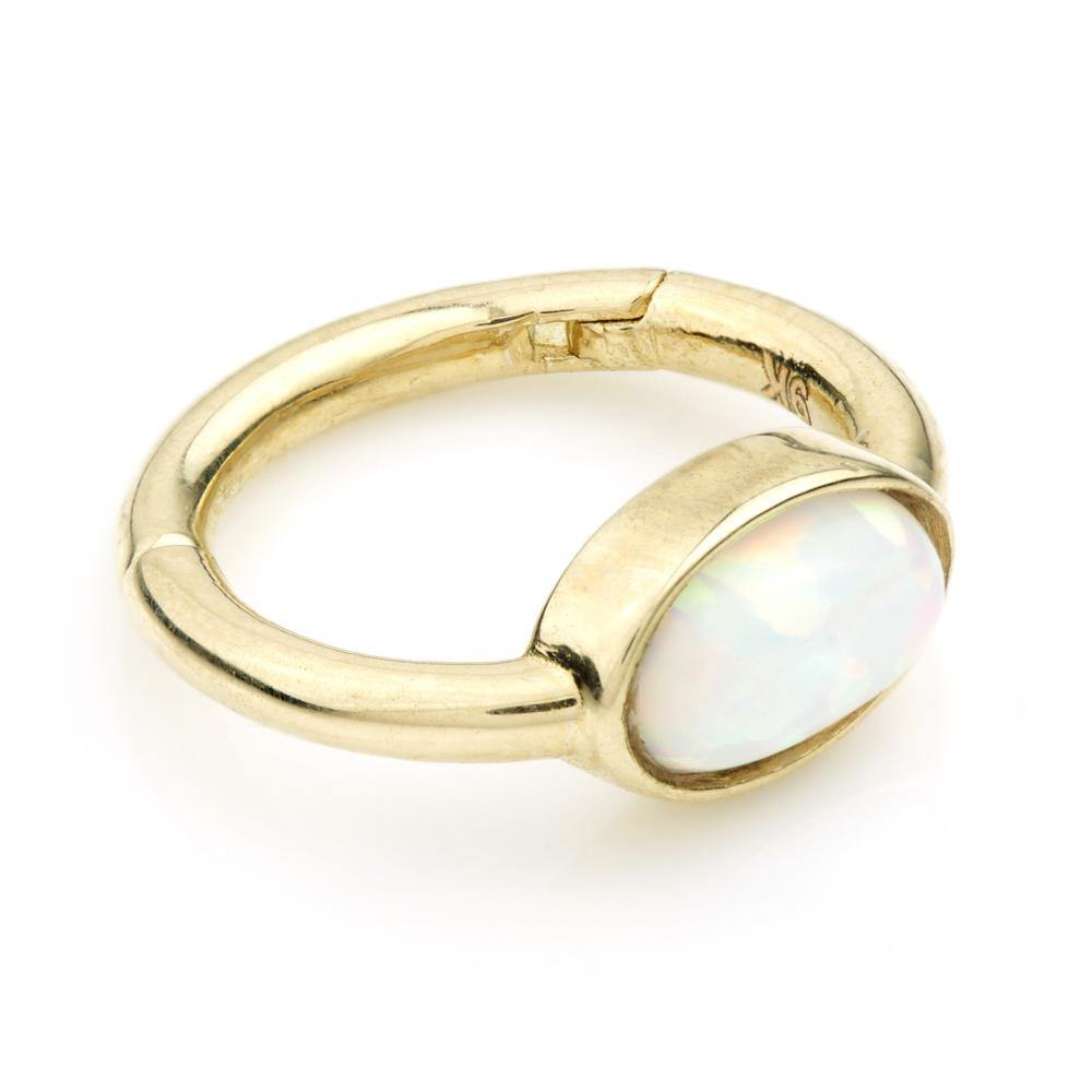 9ct Gold 8mm Segment Hinge Ring with Oval Opal (1.2mm)