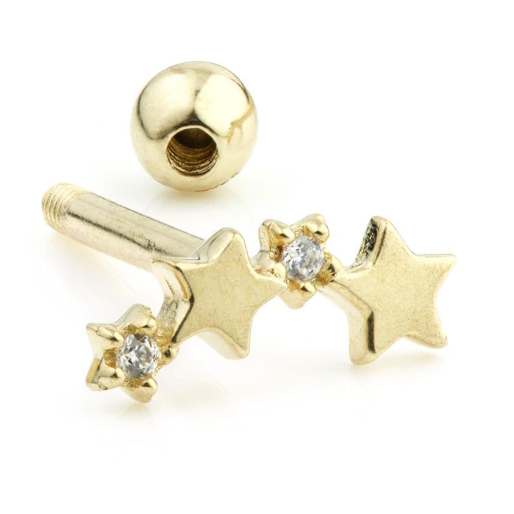9ct Gold Gem Stars Cartilage Bar