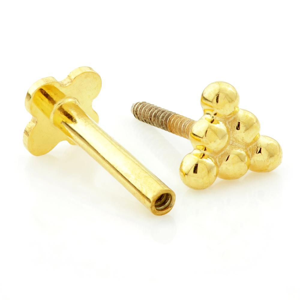 Trinity Ball Solid Gold Tragus Bar - ZuZu Jewellery
