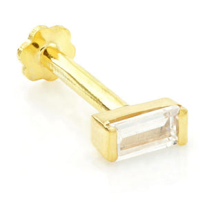 Open image in slideshow, Baguette Solid Gold Tragus Bar - ZuZu Jewellery