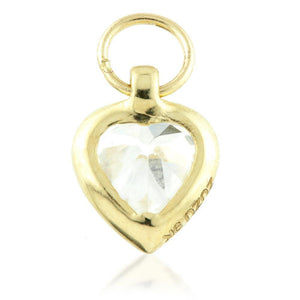 Open image in slideshow, 9ct Gold Heart Charm with Single CZ Gem