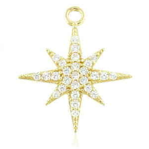 Open image in slideshow, 9ct Gold (Yellow or White) North Star Charm for Plain Clicker Hoops