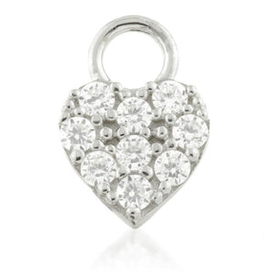 Silver CZ Heart Charm for Plain Clicker Hoop - ZuZu Jewellery