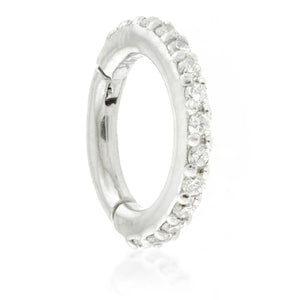 Open image in slideshow, Solid White Gold Diamond Eternity Hoop Earring
