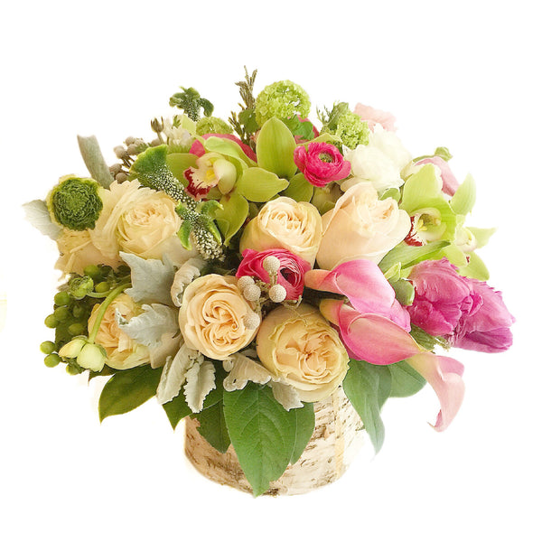 Russian Spring Flower Arrangement - same day flower delivery and gift crate basket delivery Manhattan NYC New York 10019 10022