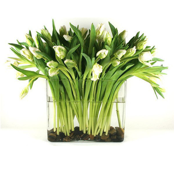 White Tulips Flower Arrangement - same day flower delivery and gift crate basket delivery Manhattan Midtown NYC New York 10019 10022