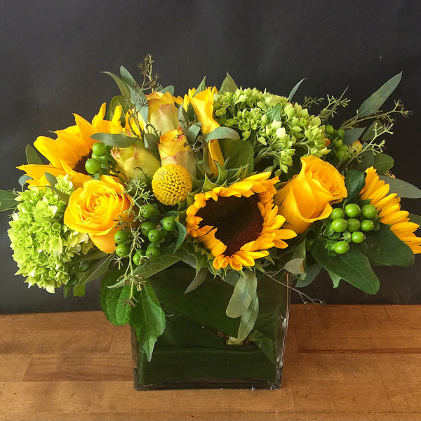 Sunny Flower Arrangement - same day flower delivery and gift crate basket delivery Manhattan Midtown NYC New York 10019 10022