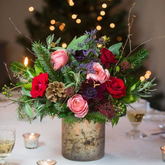 Christmas Joy Flower Arrangement same day flower and gift crate delivery Manhattan florist NYC