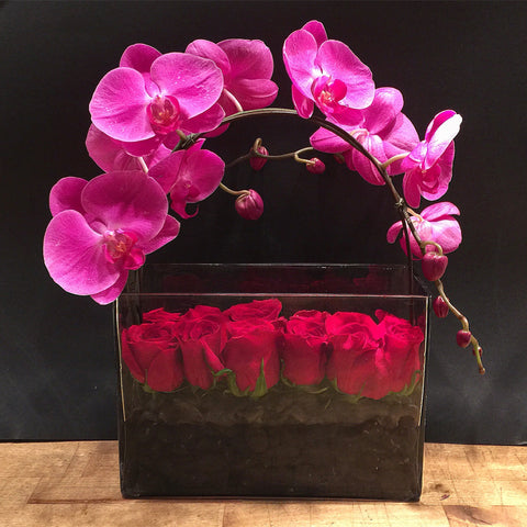 Magic Flower Arrangement - roses orchids - same day flower delivery and gift crate basket delivery Manhattan NYC New York 10019 10022