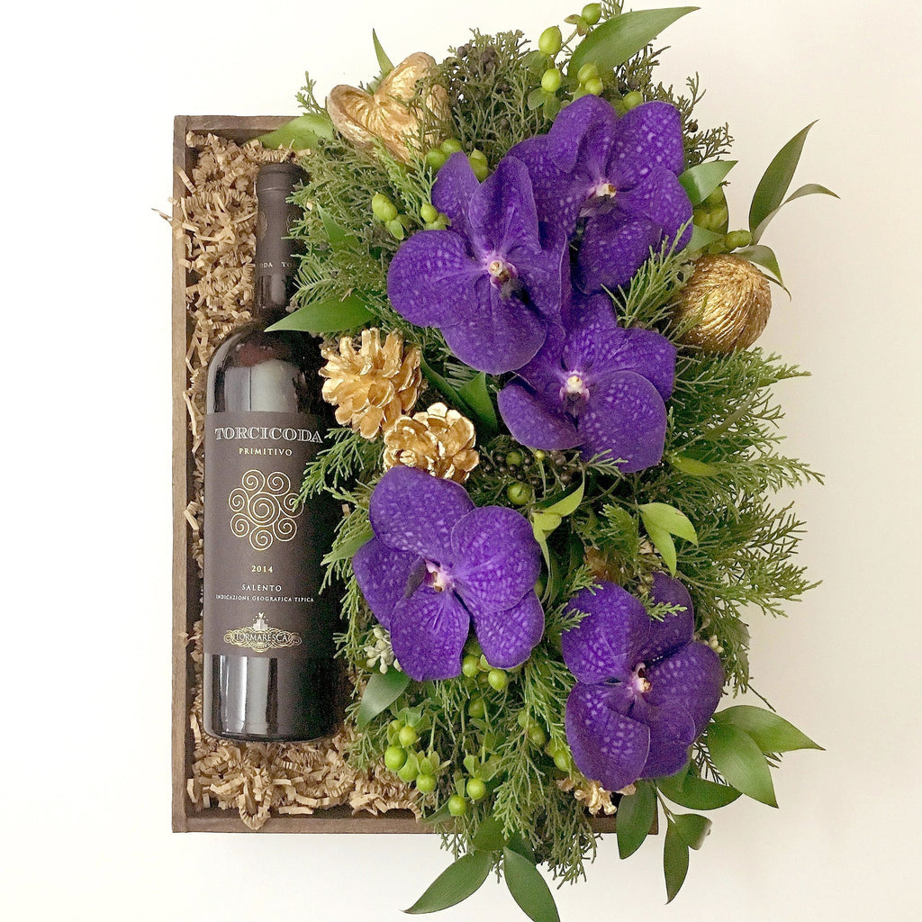 Violet And Gold Gift Box Flower Arrangement - same day flower delivery and gift crate basket