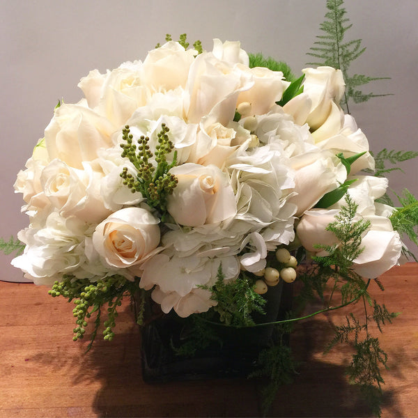 Chelsea Flower Arrangement white roses flower delivery nyc best manhattan florist 10019
