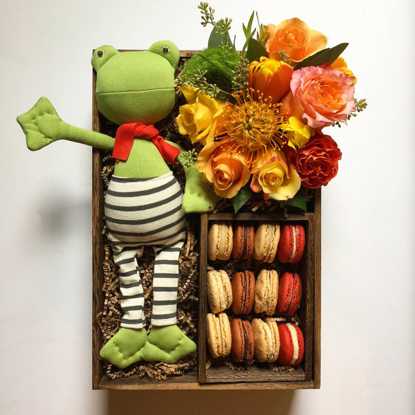 Frog With Macarons And Flowers Gift Box - same day flower delivery and gift crate basket delivery Manhattan NYC New York 10019