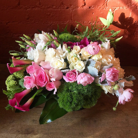 Luscious Spring Flower Arrangement - peonies orchids roses - same day flower delivery and gift crate basket delivery Manhattan NYC New York 10019 10022